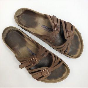 Birkenstock Granada Brown Leather Sandals L9 M7